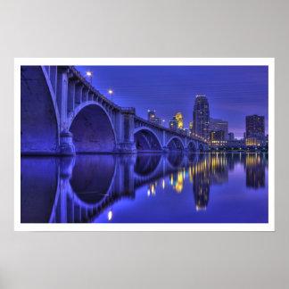Twilight-Minneapolis 3rd Ave Bridge Poster