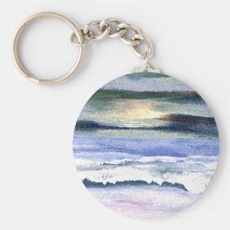Twilight Ocean Waves Beach Surf Decor Art Basic Round Button Keychain