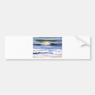 Twilight Ocean Waves Beach Surf Decor Art Bumper Sticker