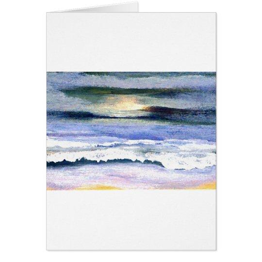 Twilight Ocean Waves Beach Surf Decor Art Card