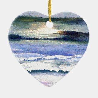 Twilight Ocean Waves Beach Surf Decor Art Ceramic Ornament