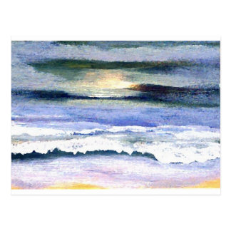Twilight Ocean Waves Beach Surf Decor Art Postcard