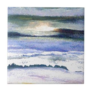 Twilight Ocean Waves Beach Surf Decor Art Tiles