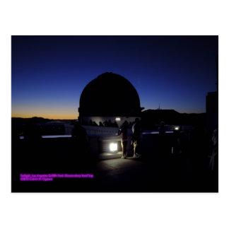 Twilight on Los Angeles Griffith Observatory Roof Postcard