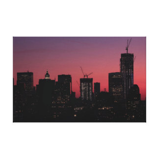Twilight One World Trade Center lit up in pink Canvas Print