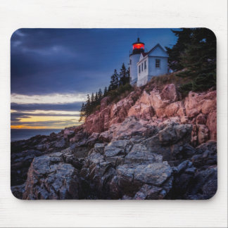 Twilight Over Bass Harbor Lighthouse, Acadia Mouse Pad