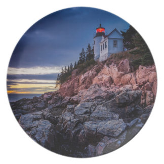 Twilight Over Bass Harbor Lighthouse, Acadia Party Plate