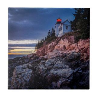 Twilight Over Bass Harbor Lighthouse, Acadia Tile