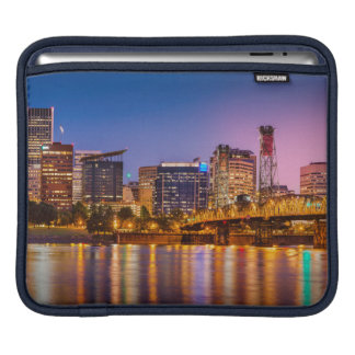 Twilight Over The Willamette River And Portland iPad Sleeves