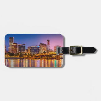 Twilight Over The Willamette River And Portland Tag For Luggage