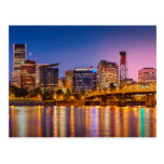 Twilight Over The Willamette River And Portland Post Cards