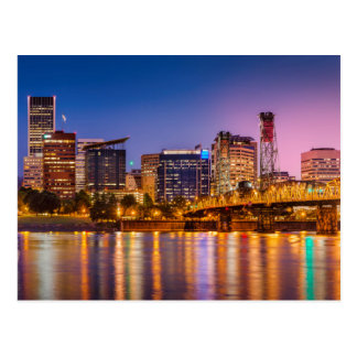 Twilight Over The Willamette River And Portland Postcard