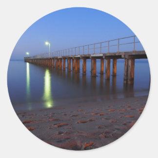 Twilight Pier Classic Round Sticker