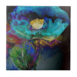 """Twilight Poppy Tile<br><div class=""""desc"""">Romantic purple and teal abstract poppy watercolor painting -</div>"""