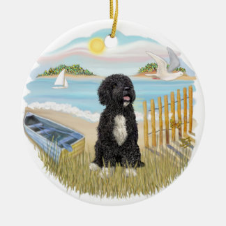 Twilight - Portuguese Water Dog #5 (bw) Ceramic Ornament