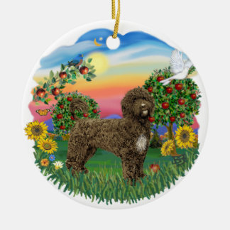 Twilight - Portuguese Water Dog (brown) Double-Sided Ceramic Round Christmas Ornament