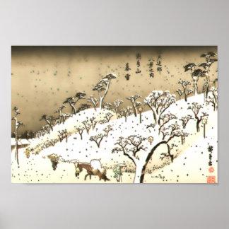 Twilight Snow at Asuka Hill (Asukayama no bosetsu) Poster