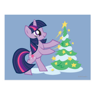 Twilight Sparkle Decorating Christmas Tree Postcard