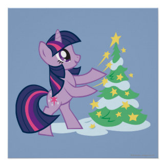 Twilight Sparkle Decorating Christmas Tree Poster