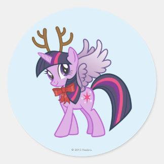 Twilight Sparkle Reindeer Classic Round Sticker