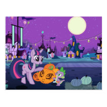 Twilight Sparkle with Halloween Pumpkin Postcard