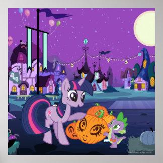 Twilight Sparkle with Halloween Pumpkin Poster