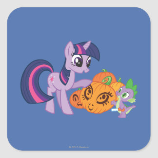 Twilight Sparkle with Halloween Pumpkin Square Sticker