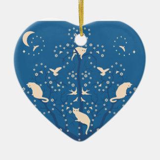 Twilight Tomcats Heart Shaped Ornament