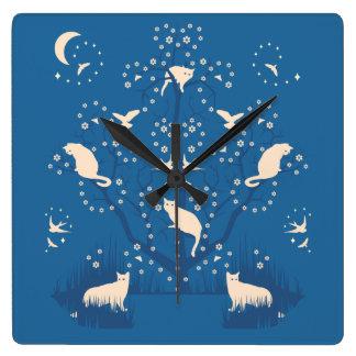 Twilight Tomcats Large Square Wall Clock