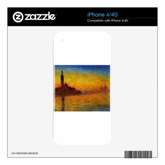 Twilight, Venice by Claude Monet Decals For iPhone 4S