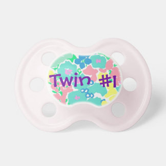 """Twin #1"" Floral Baby Girl Pacifier BooginHead Pacifier"