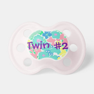 """""""Twin #2"""" Floral Baby Girl Pacifier"""
