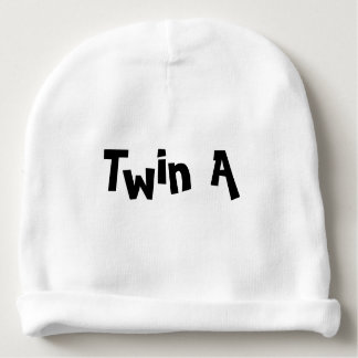Twin A Baby Hat White Part of set of 2 for Twins