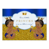 Twin African American Prince Baby Shower Card