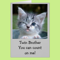 TWIN AGE HUMOR BIRTHDAY CARD KITTY STYLE