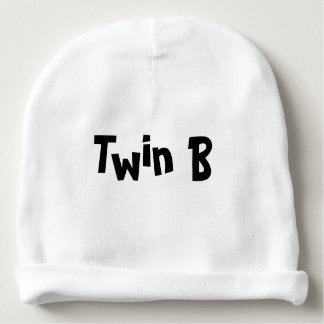 Twin B Baby Hat White Part of set of 2 for Twins