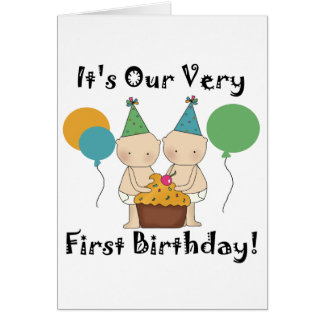 Twin Babies 1st Birthday Tshirts and Gifts Card