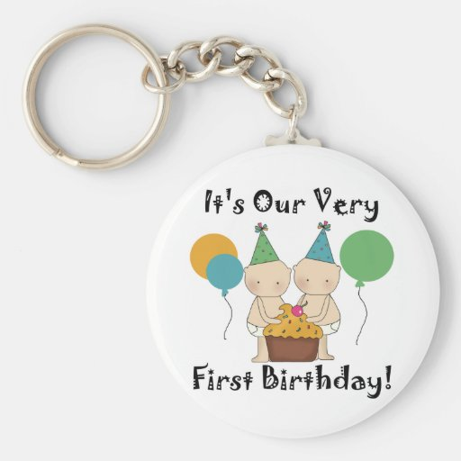 Twin Babies 1st Birthday Tshirts and Gifts Key Chains