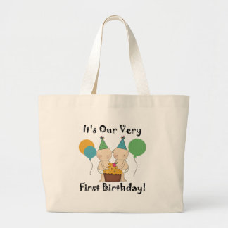 Twin Babies 1st Birthday Tshirts and Gifts Large Tote Bag
