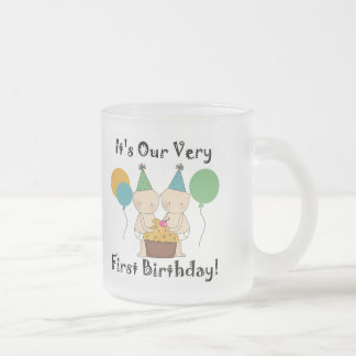 Twin Babies 1st Birthday Tshirts and Gifts 10 Oz Frosted Glass Coffee Mug