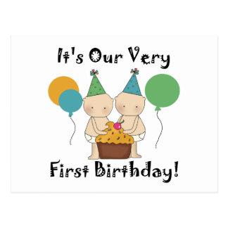 Twin Babies 1st Birthday Tshirts and Gifts Postcard