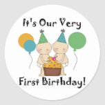 Twin Babies 1st Birthday Tshirts and Gifts Sticker