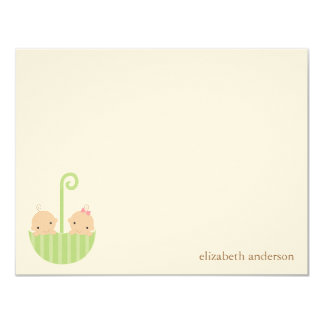 Twin Babies Custom Flat Thank You Cards