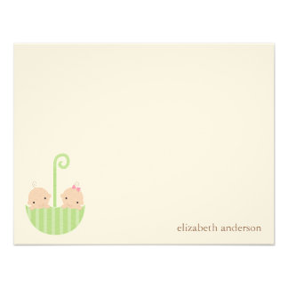 Twin Babies Custom Flat Thank You Cards Personalized Invite