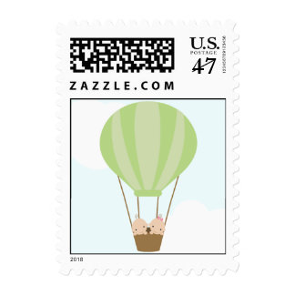 Twin Babies in Balloon Baby Shower Postage