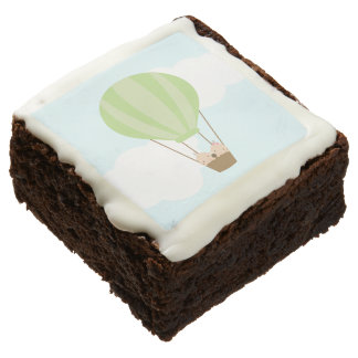 Twin Babies in Hot Air Balloon Baby Shower Brownie
