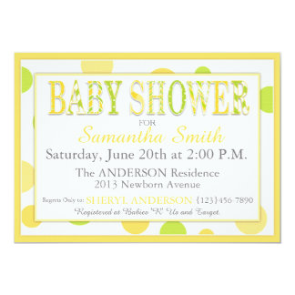 Twin Babies Lemon Lime Dots Baby Shower Card