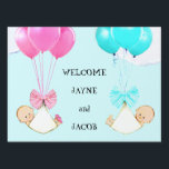 """Twin Babies Sign<br><div class=""""desc"""">Baby girl and boy twins announcement or welcome.</div>"""