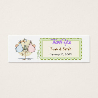 Twin Babies Stork Favor Tag
