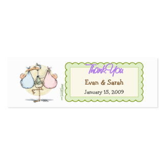 Twin Babies Stork Favor Tag Double-Sided Mini Business Cards (Pack Of 20)
